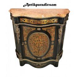 Gyönyörű antik boulle márványlapos komód