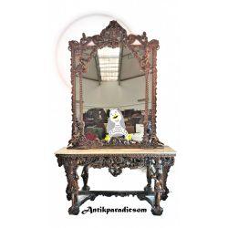 Gyönyörű barokk puttós konzolasztal tükörrel
