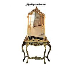 Gyönyörű Olasz aranyozott barokk márványlapos konzolasztal tükörrel